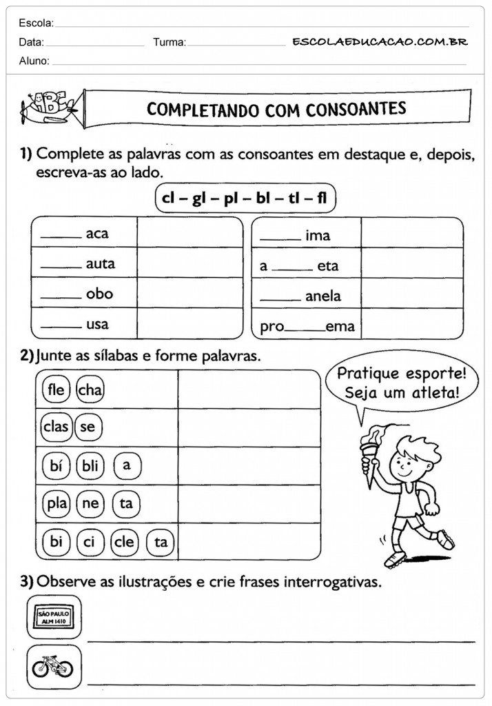 Atividades de Português 3º ano - Consoantes