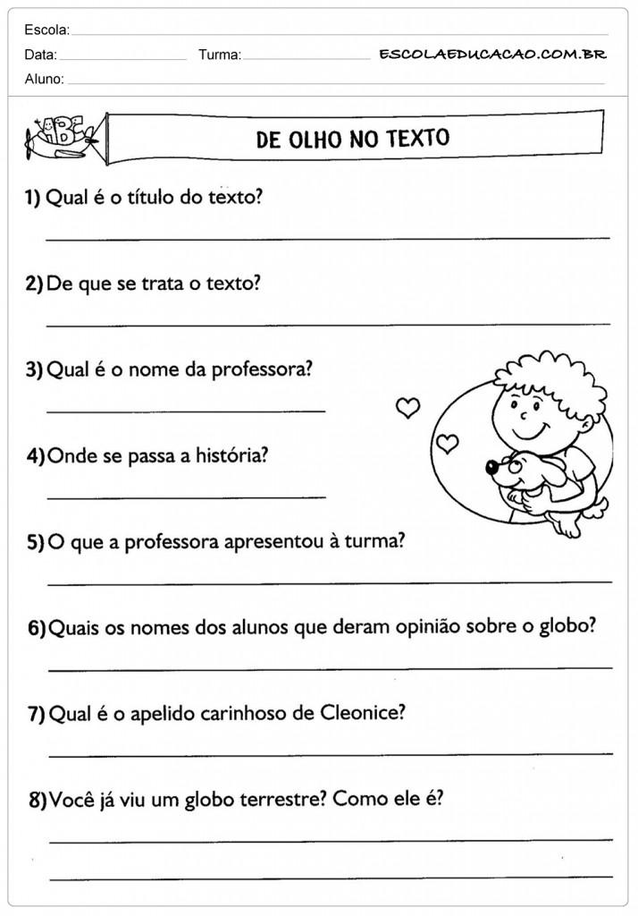 Atividades de Português 3º ano - De olho no texto