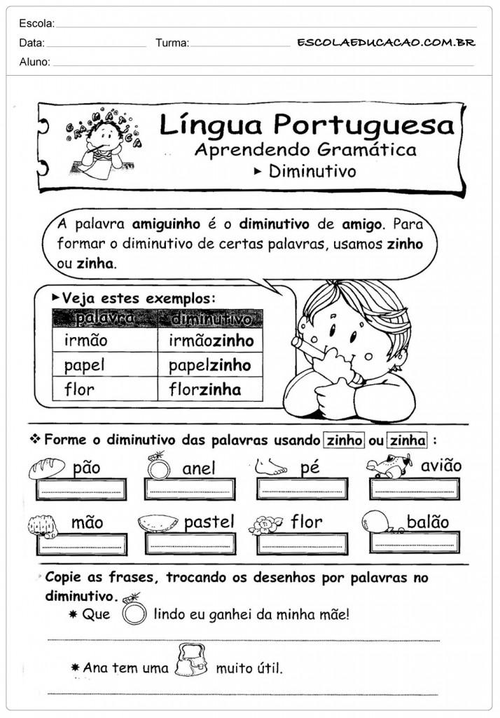 Atividades de Português 3º ano - Diminutivo