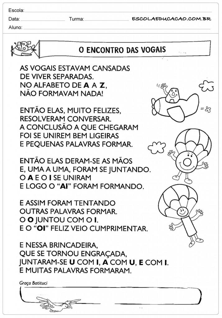 Atividades de Português 3º ano - Encontro das vogais