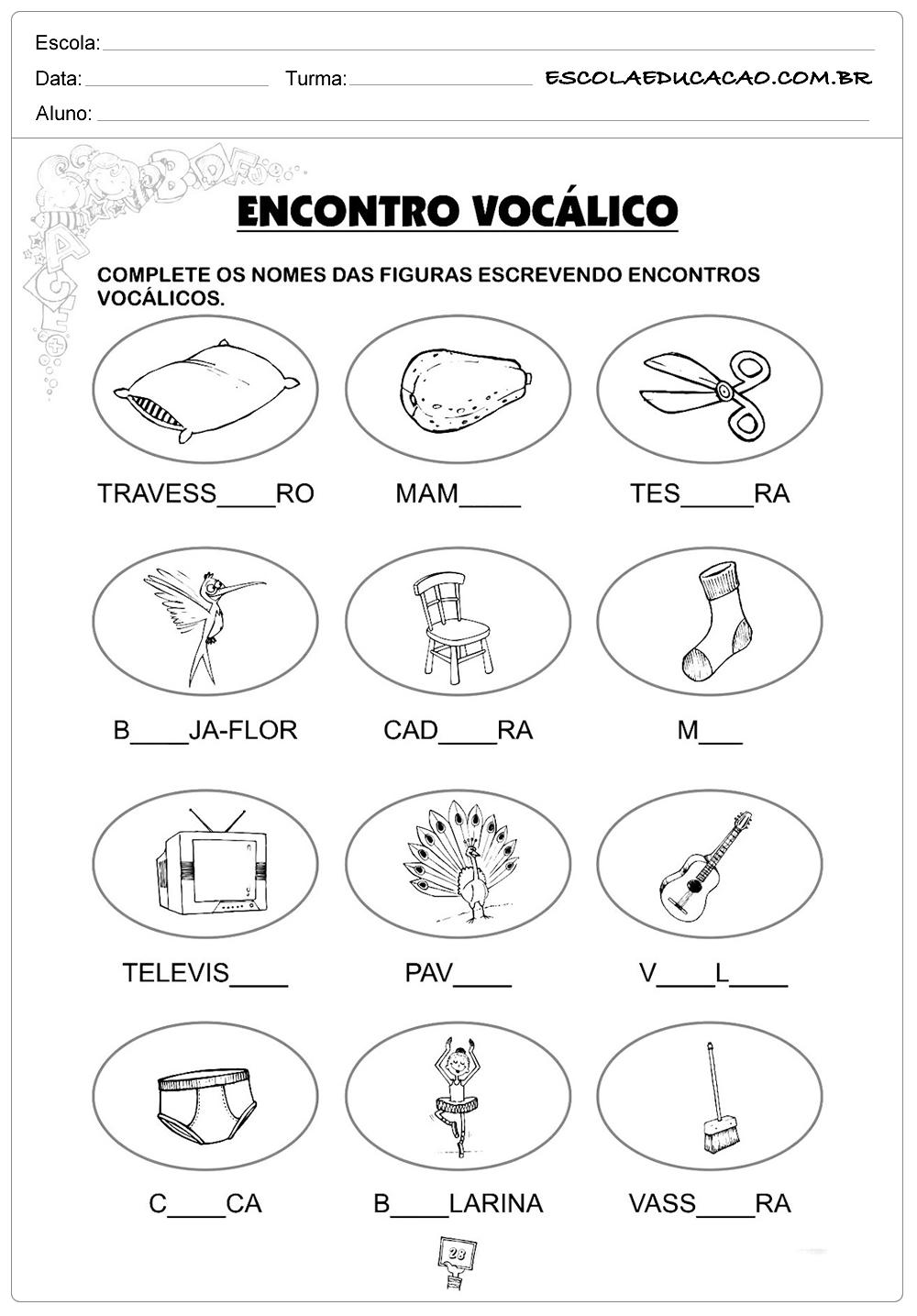 Atividades de Português 3º ano – Encontro vocálico 2