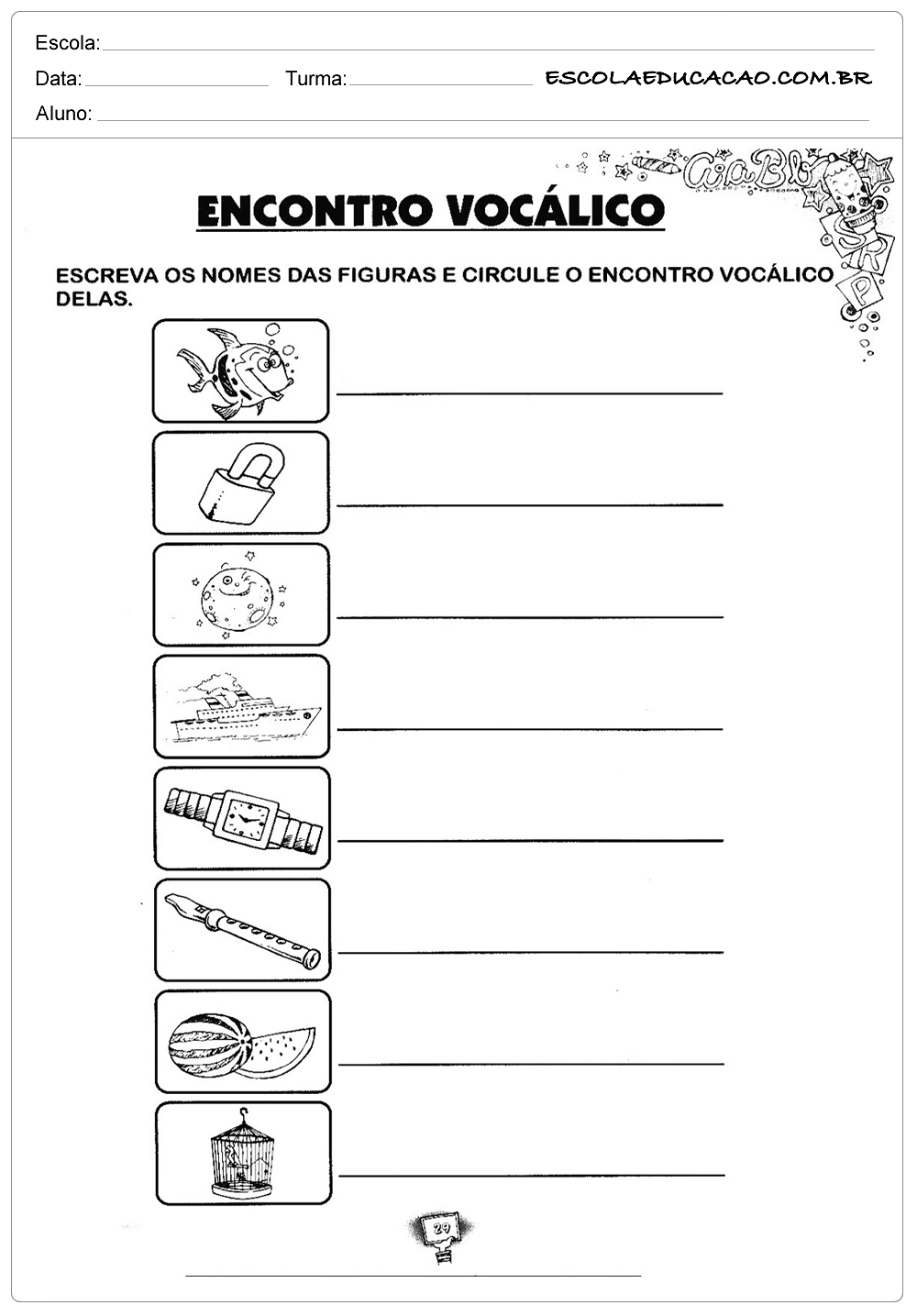 Atividades de Português 3º ano – Encontro vocálico