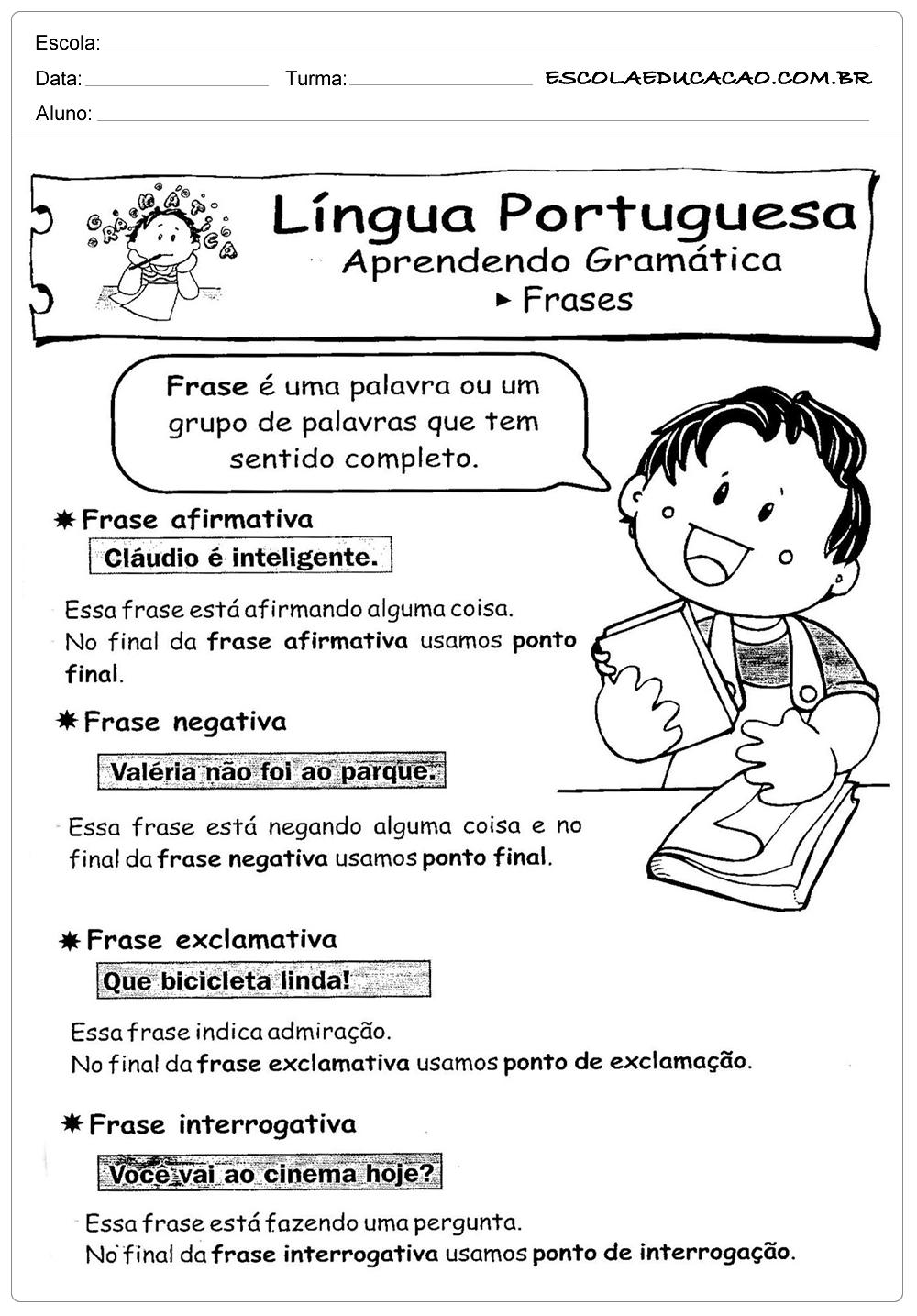 Atividades De Portugues 3 Ano Frases Escola Educação