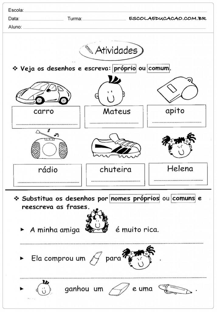 Atividades de Português 3º ano - Próprio ou Comum