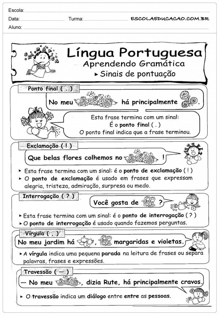 Atividades de Português 3º ano - Sinais de Pontuação