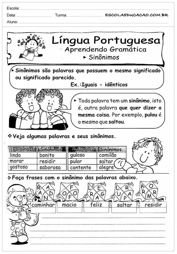 Atividades de Português 3º ano - Sinônimos