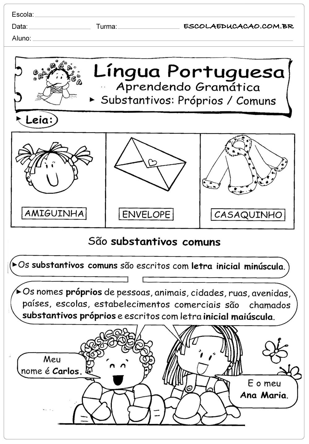 Atividades de Português 3º ano – Substantivos próprios e comuns