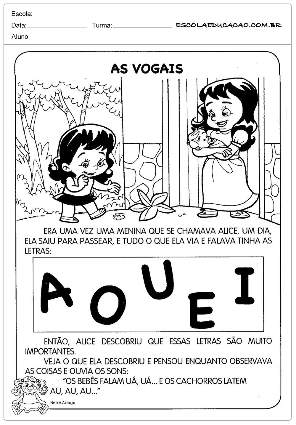 Atividades de Português 3º ano – Vogais