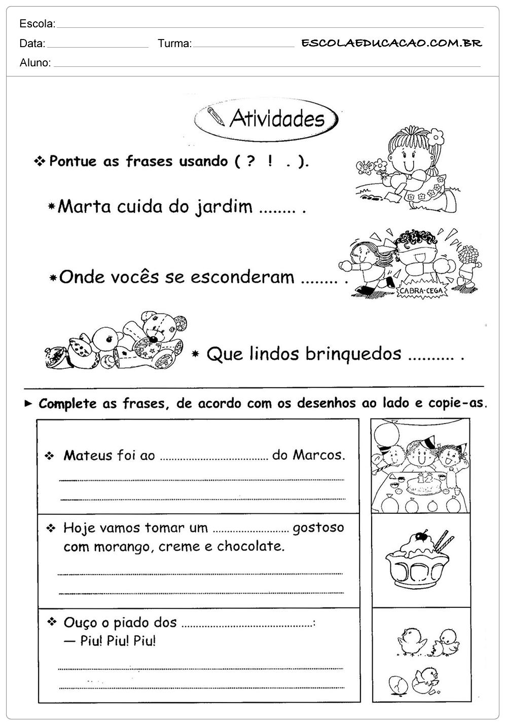 Atividades de Português 3º ano