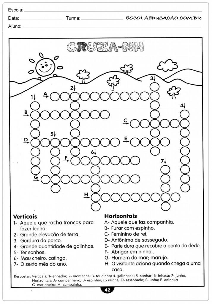 Atividades de Português 4º ano - Cruzadinha NH