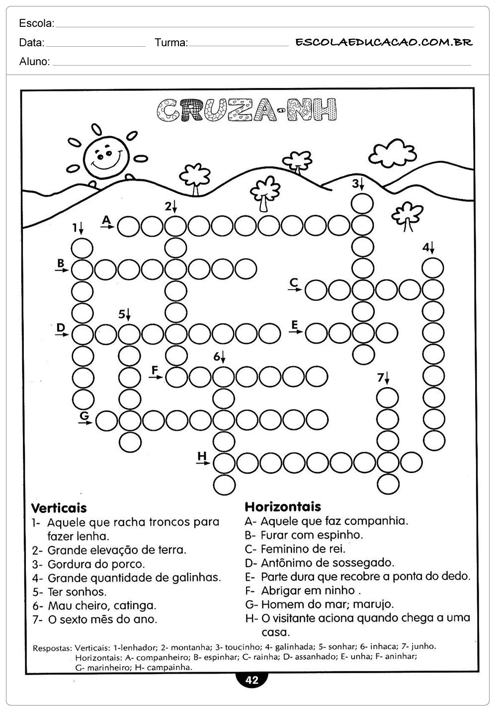 Atividades de Português 4º ano – Cruzadinha NH