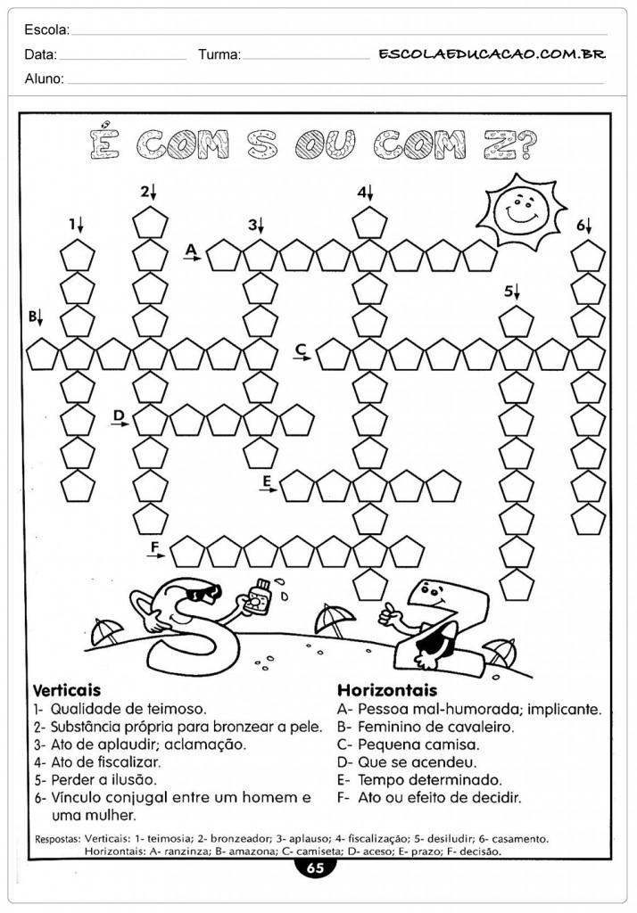 Atividades de Português 4º ano - Cruzadinha S ou Z