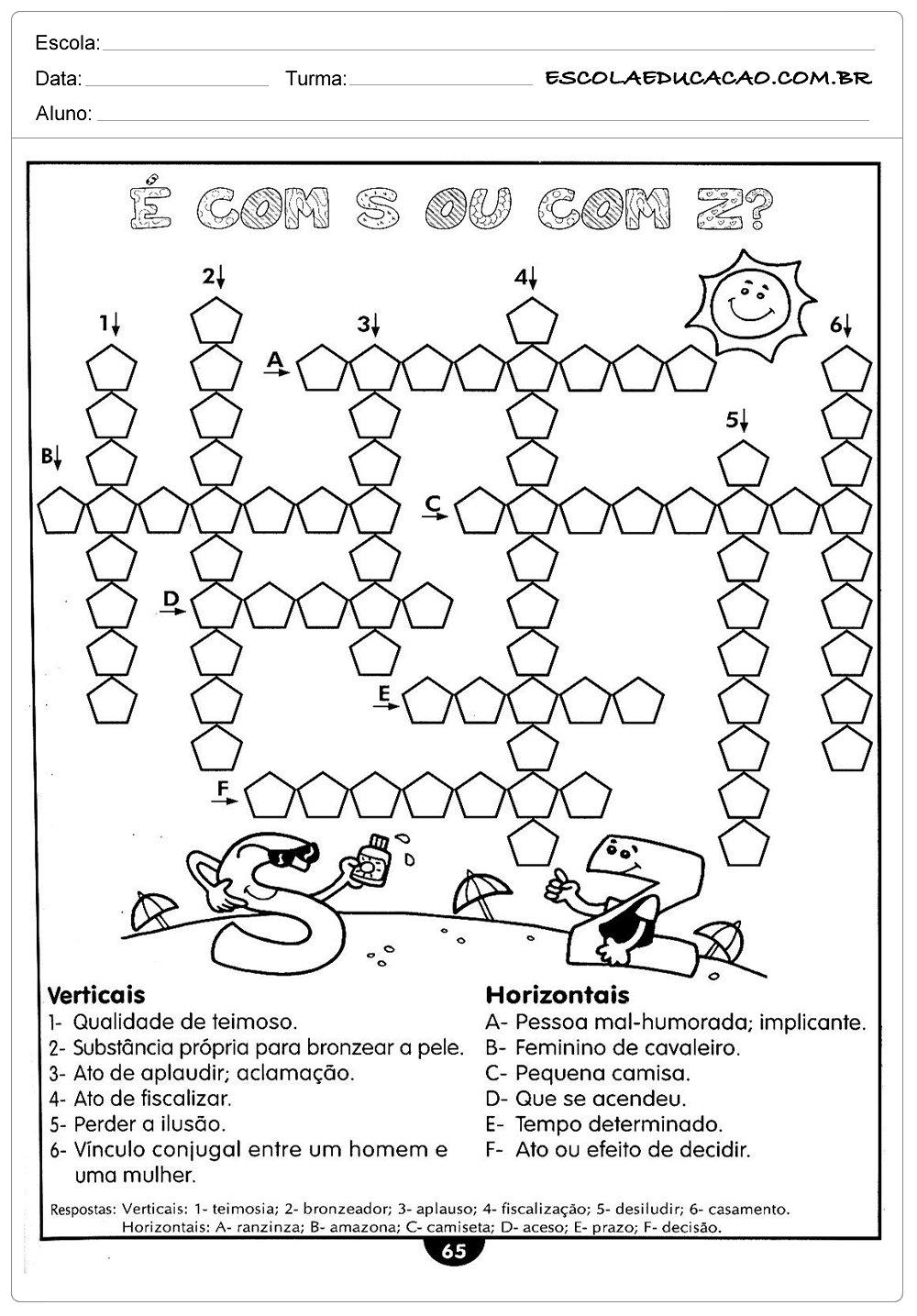 Atividades de Português 4º ano – Cruzadinha S ou Z