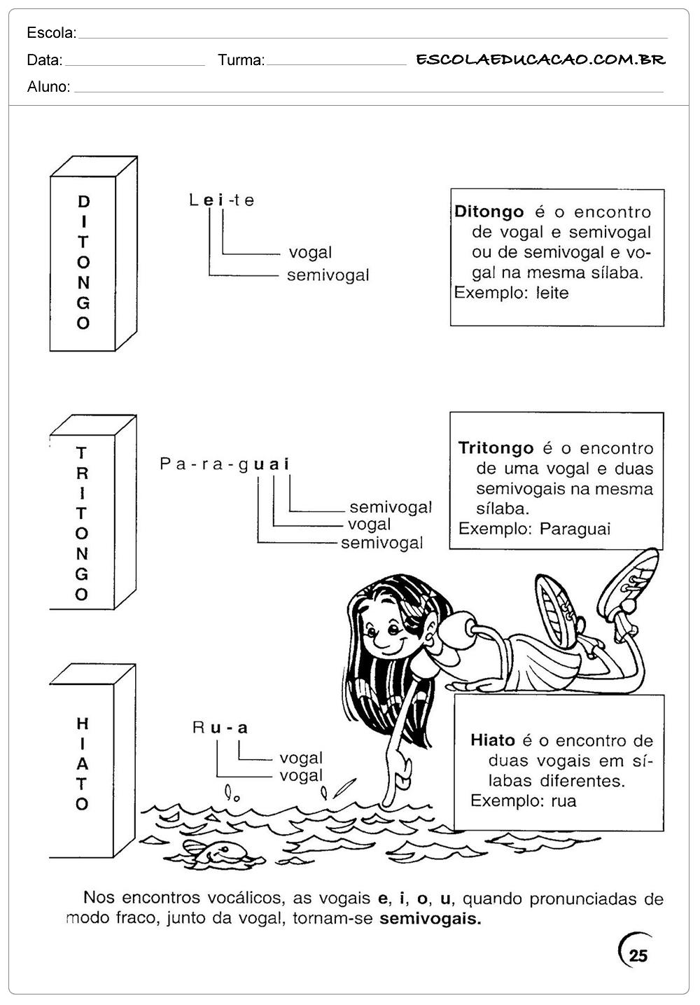 Atividades de Português 4º ano – Ditongo, Tritongo e Hiato