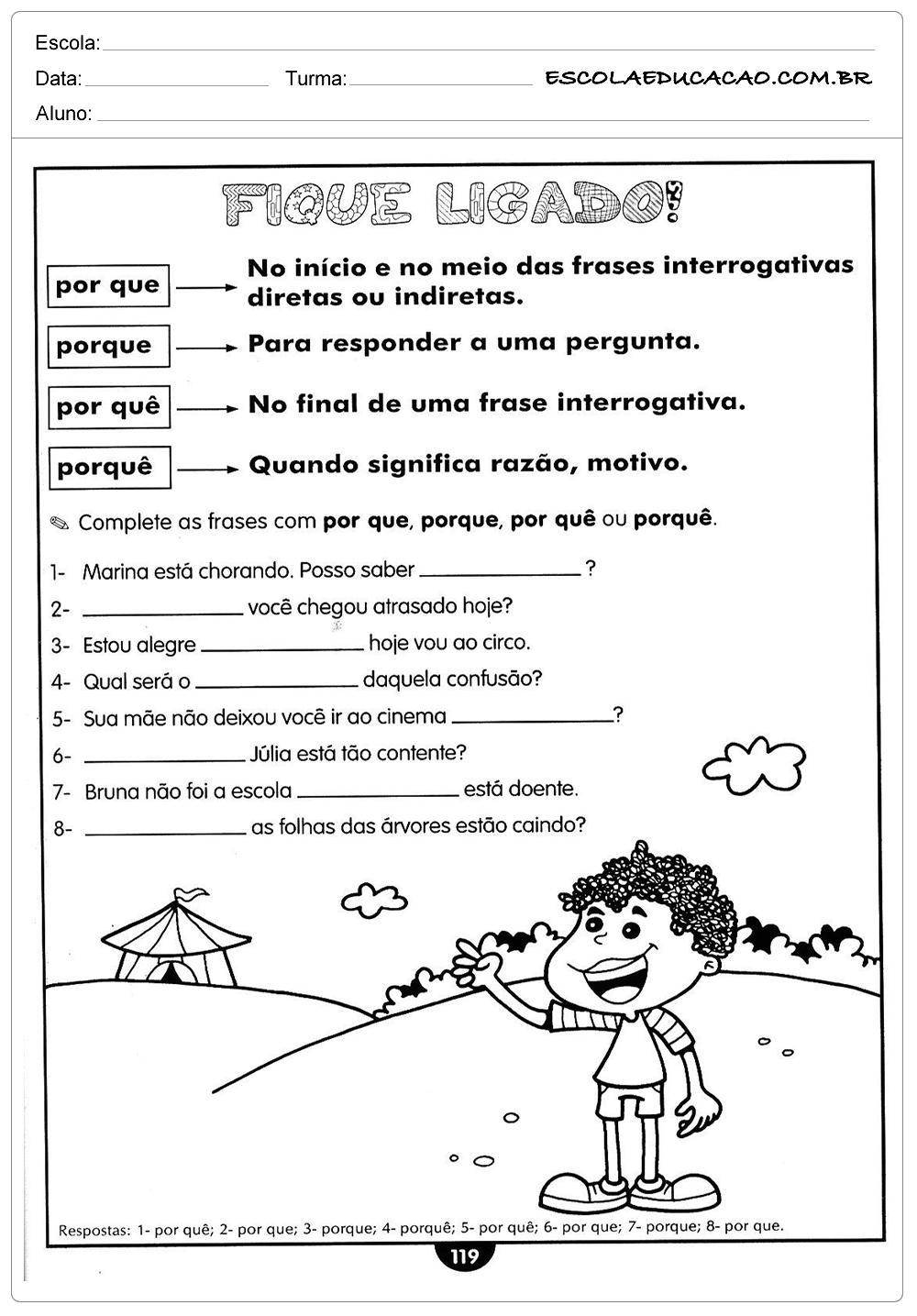 Atividades de Português 4º ano – Tipos de porquês