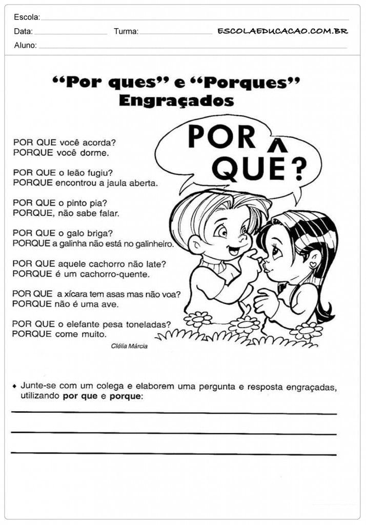 Atividades de Português 4º ano - Exemplos de porquês