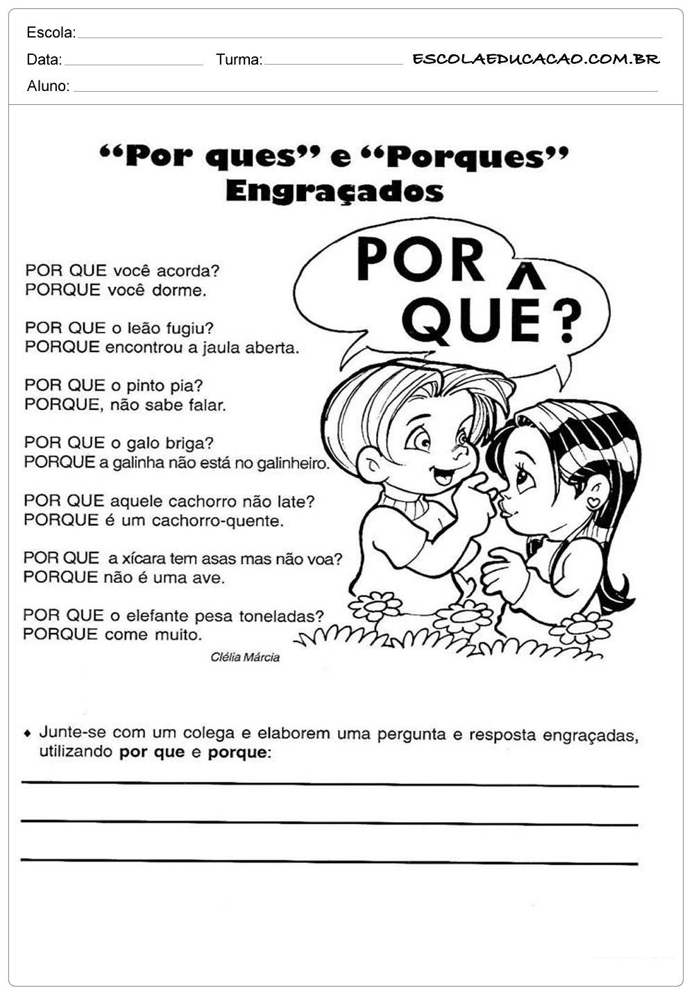 Atividades de Português 4º ano – Exemplos de porquês