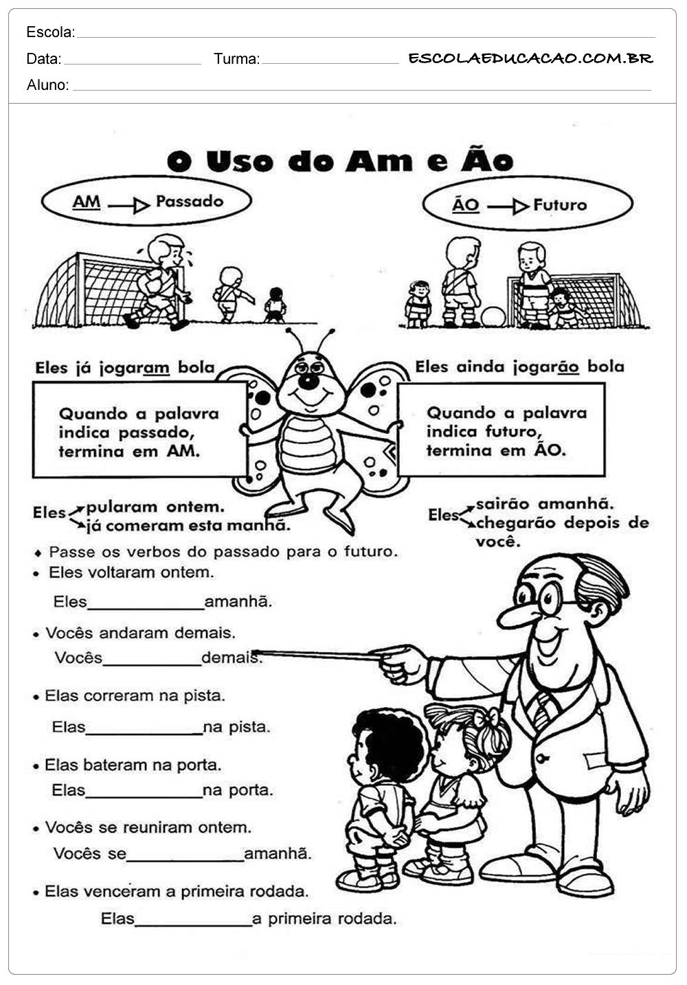 Atividades de Português 4º ano – Uso do AM e ÃO