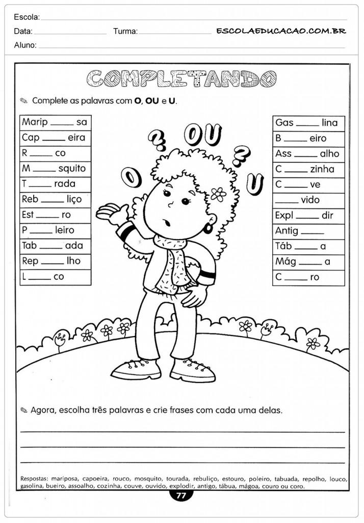 Atividades de Português 5º ano - O, OU e U