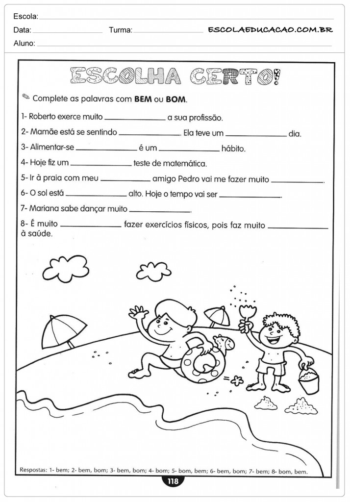 Atividades de Português 5º ano - Bem ou Bom