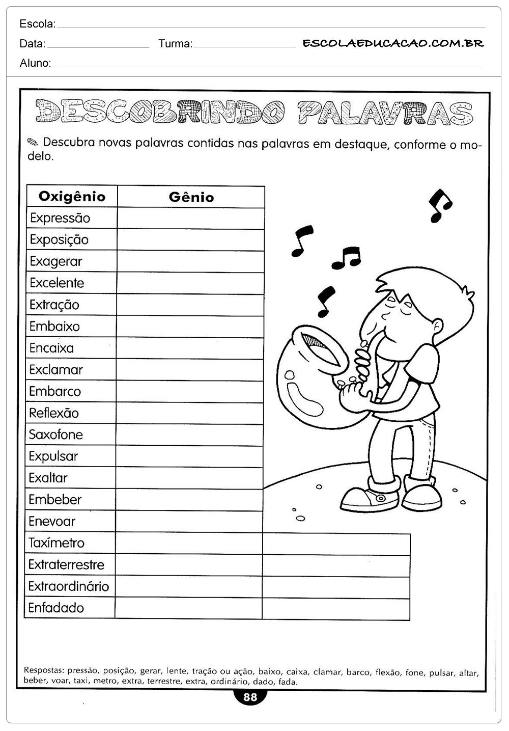 Atividades de Português 5º ano – Descobrindo as palavras