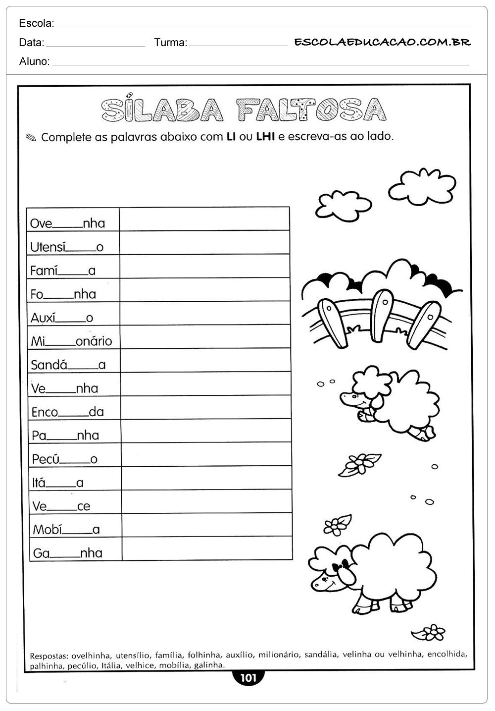 Atividades de Português 5º ano – Li ou Lhi