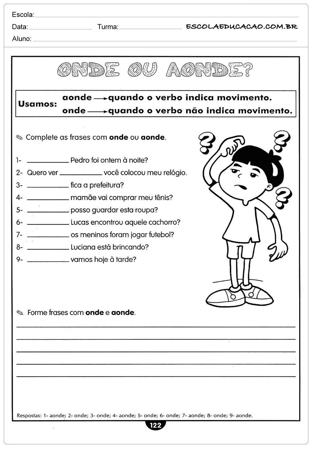 Atividades de Português 5º ano – Onde ou Aonde