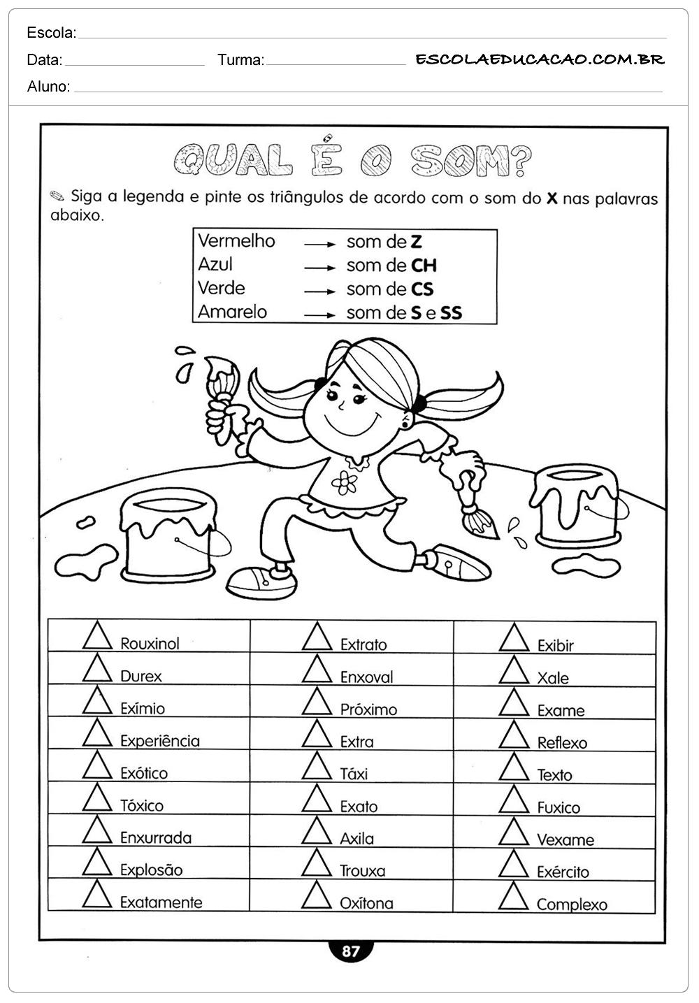 Atividades de Português 5º ano – Som das palavras