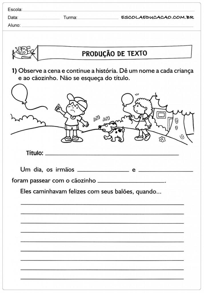 Atividades de Produção de Texto 2º ano - Continue a História