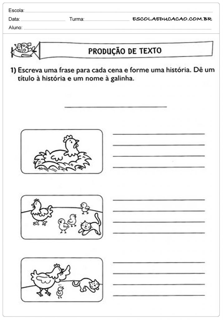 Atividades de Produção de Texto - A Galinha