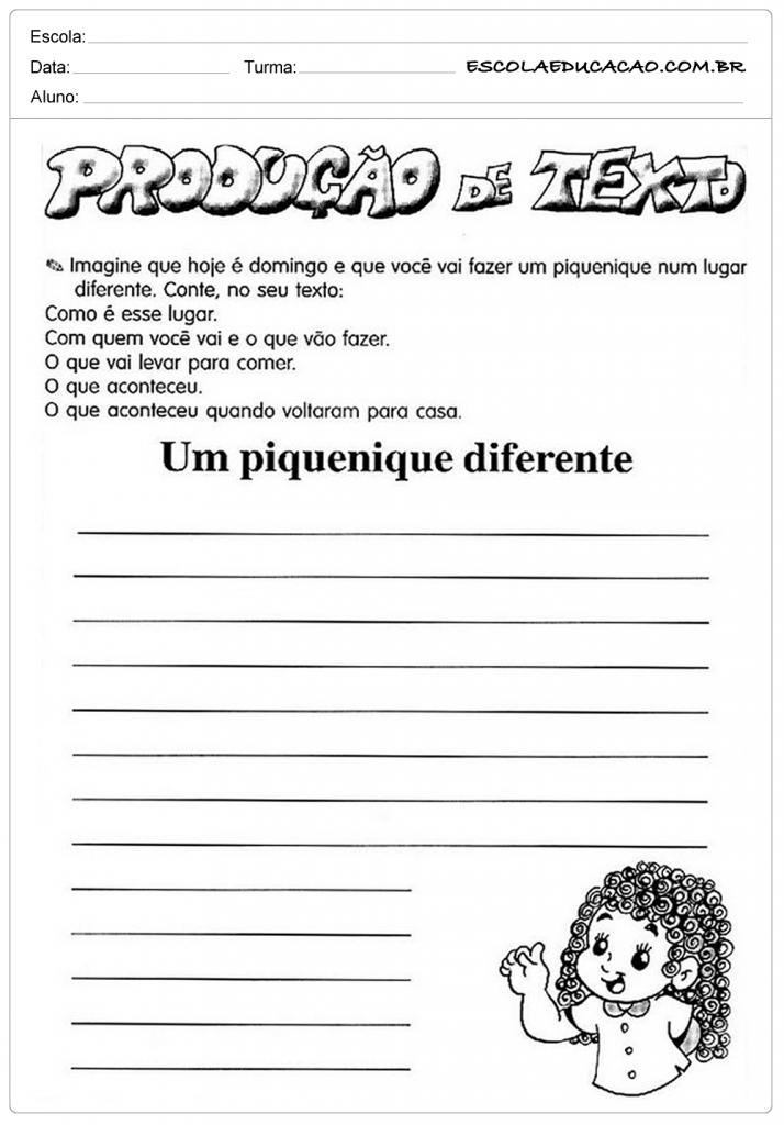 Well-known Atividades de Produção de texto 3º ano - Escola Educação UE93