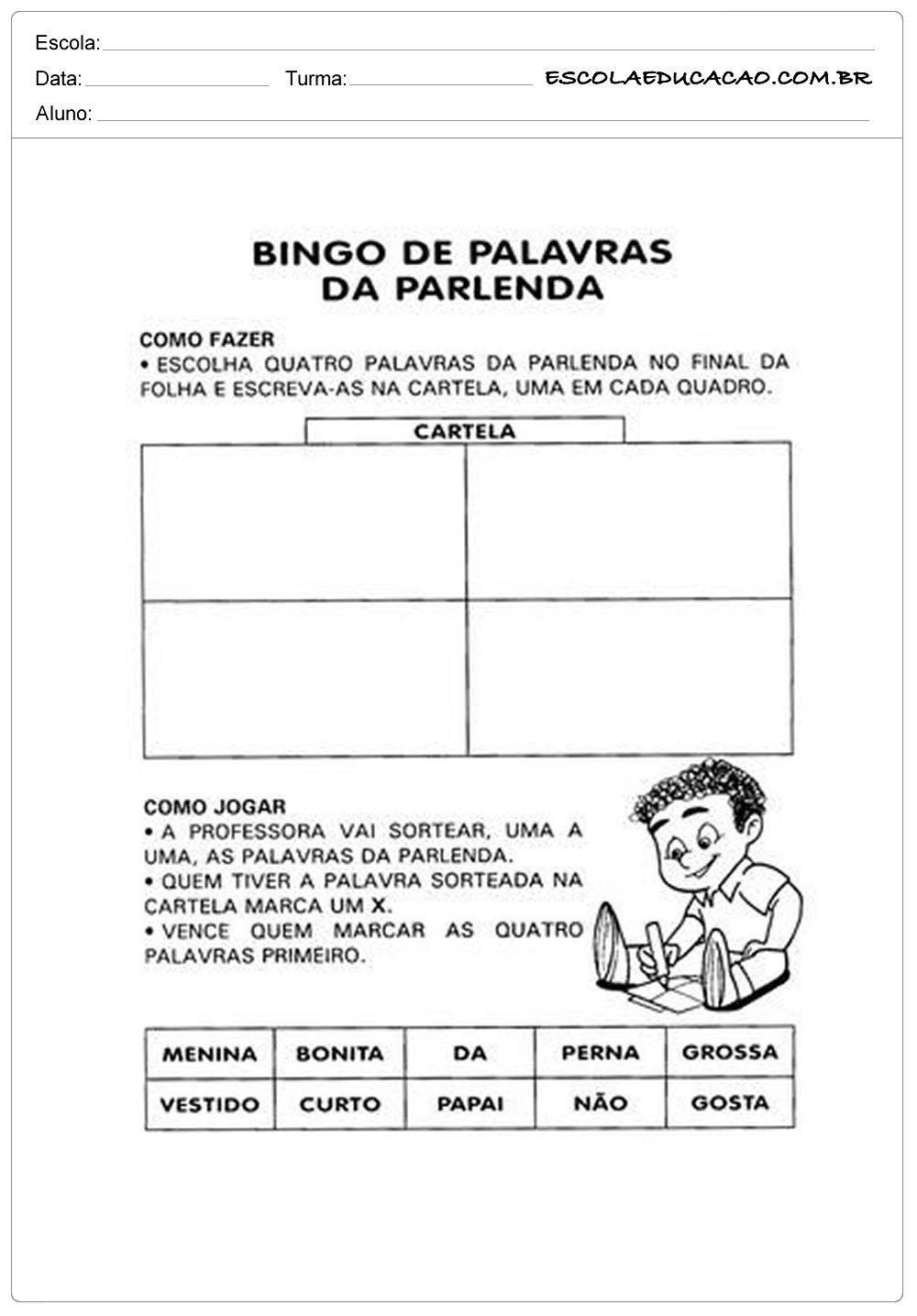 Atividade Dia dos Pais – Bingo de palavras