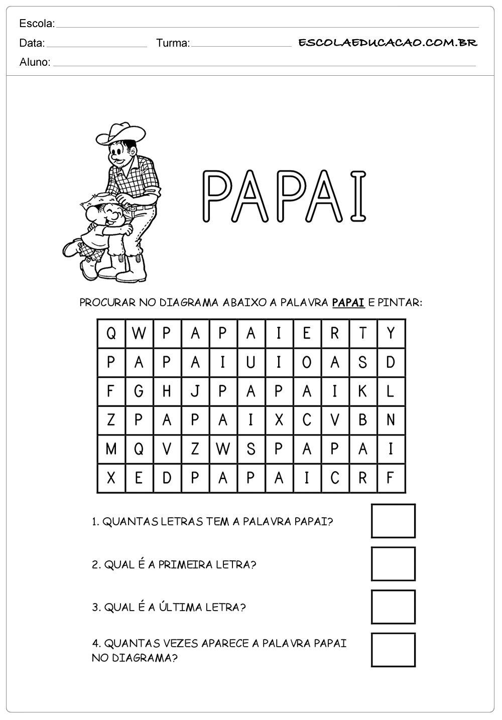 Atividade Dia dos Pais – Caça-Palavras