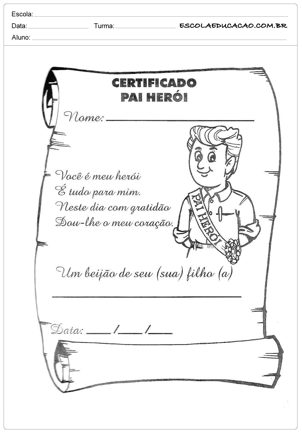 Atividade Dia dos Pais – Certificado de herói