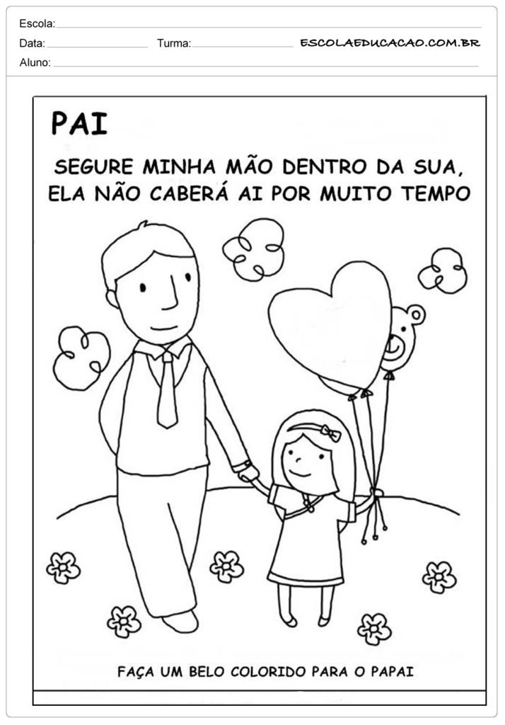 Atividade Dia dos Pais - Colorido para o papai
