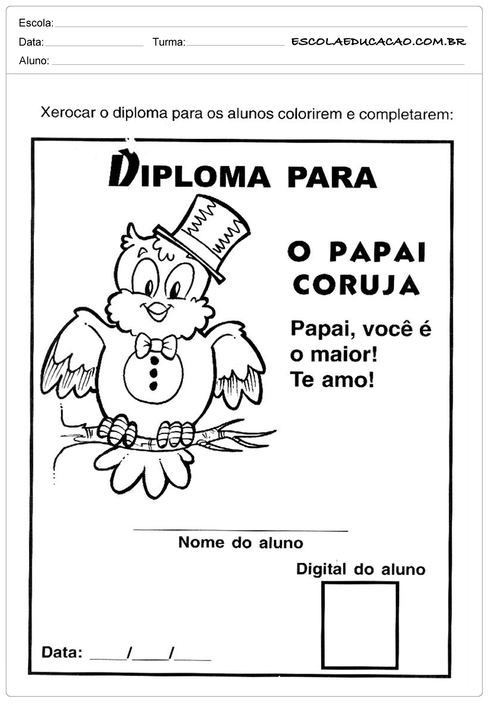 Atividade Dia dos Pais – Papai coruja
