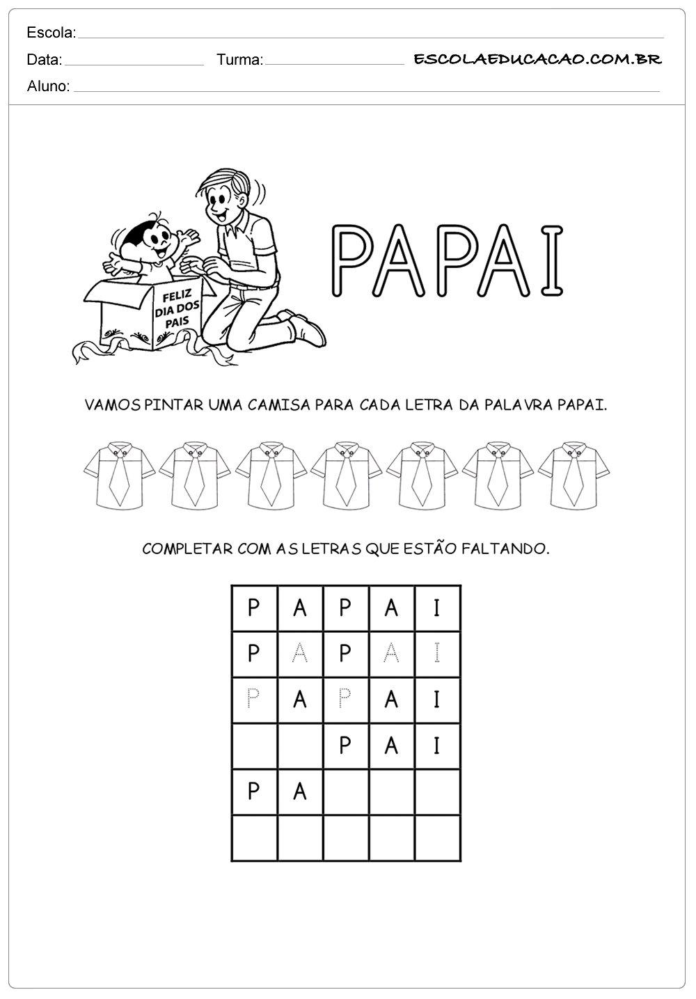 Atividade Dia dos Pais – Letra da palavra papai