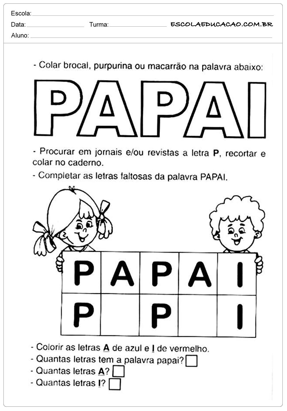 Atividade Dia dos Pais – Letra P