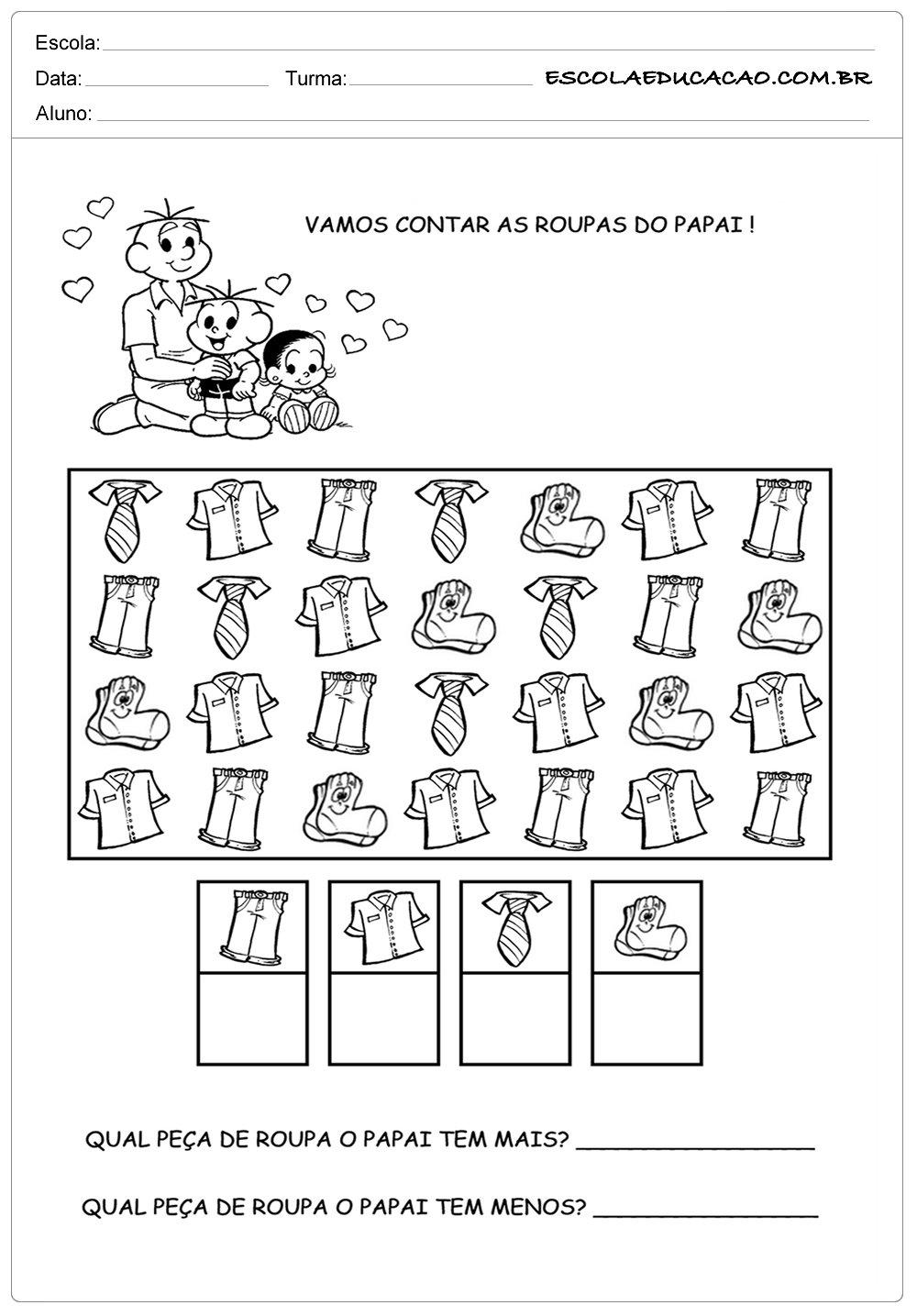Atividade Dia dos Pais – Vamos contar as roupas do papai
