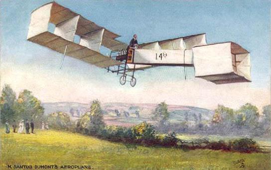 Cartão postal comemorativo em homenagem a Santos Dumont o criador do 14 Bis, considerado o primeiro avião a fazer um voo completo. Alberto Santos Dumont entrou para a história como o pai da aviação.