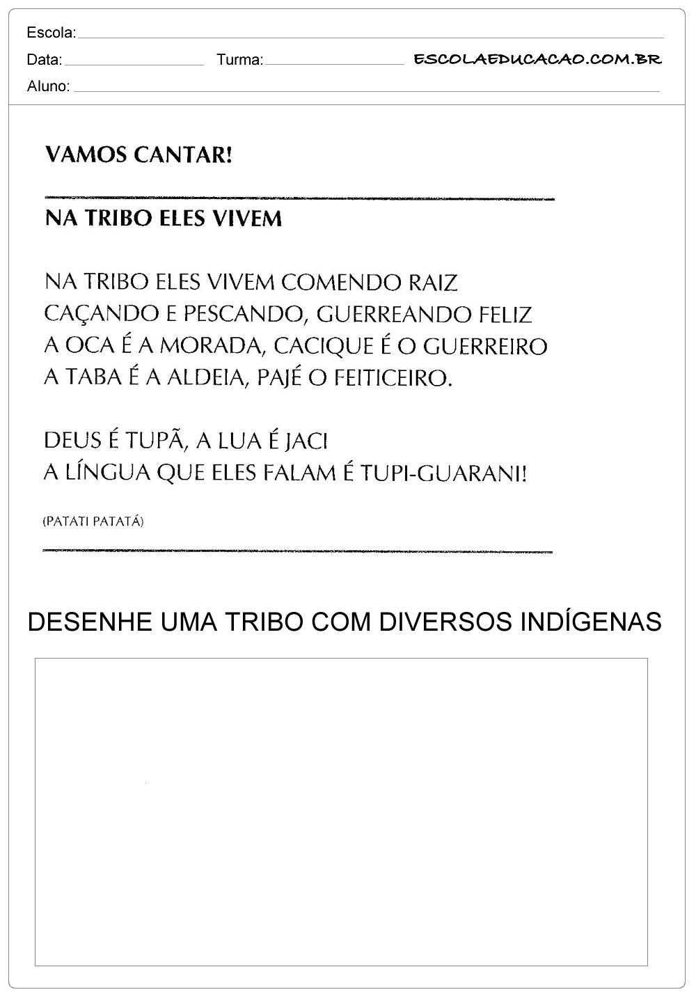 Atividades Dia do Índio – Complete a Tribo