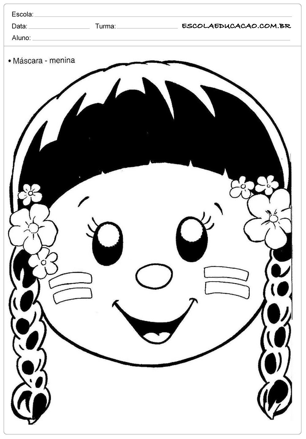 Atividades Dia do Índio – Máscara de Menina