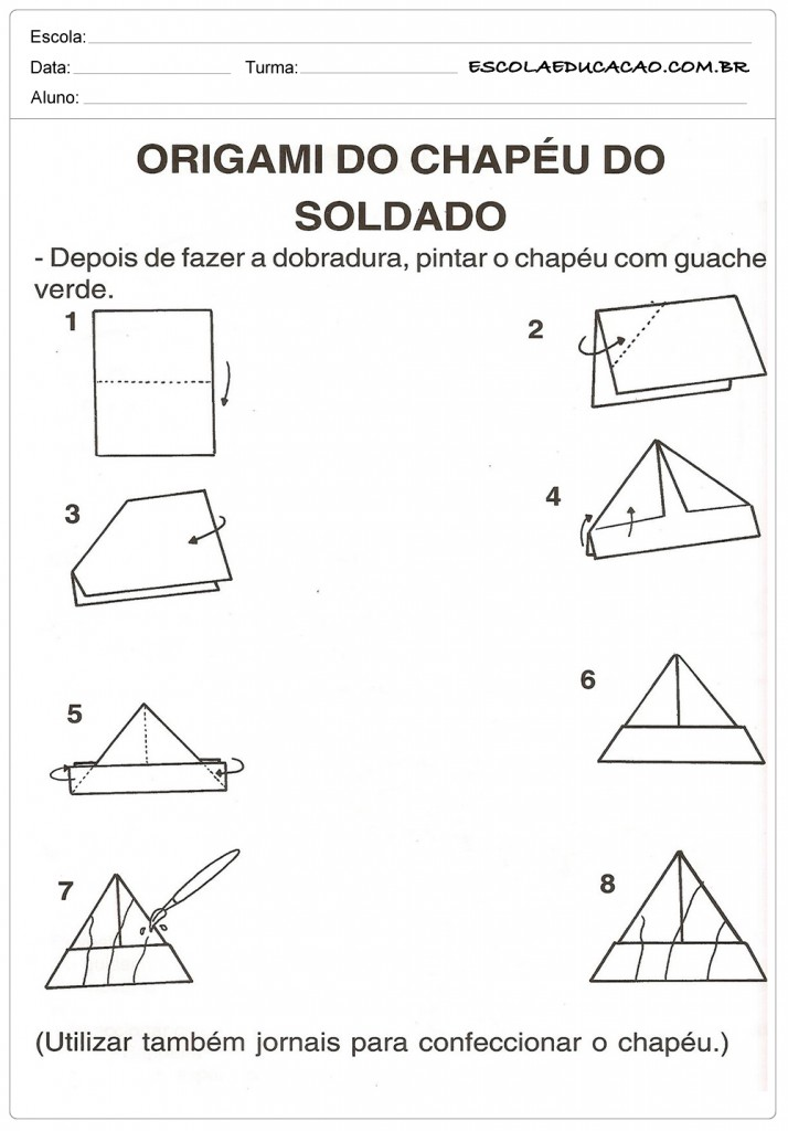 Atividade Dia do Soldado - Origami de Chapéu
