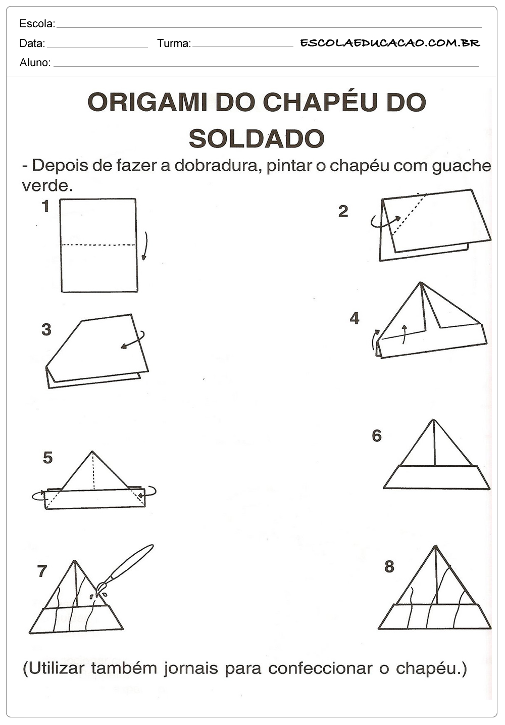 Atividade Dia do Soldado – Origami de Chapéu