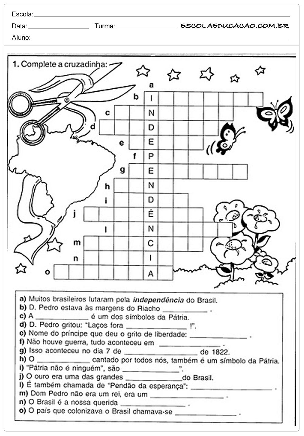 Atividade Independência do Brasil – Cruzadinha