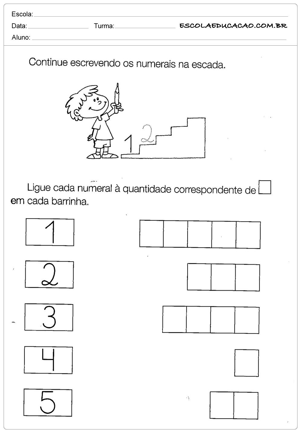 Atividades com Numerais – Escrevendo os Numerais