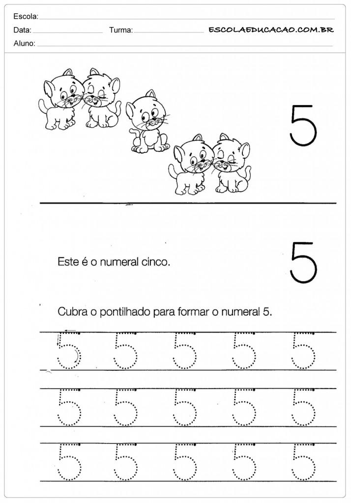 Atividades com Numerais - Numeral Cinco