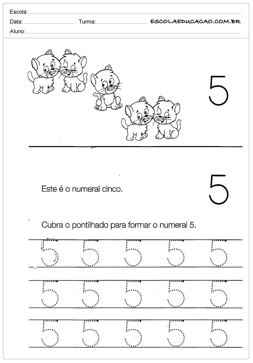Atividades com Numerais – Numeral Cinco