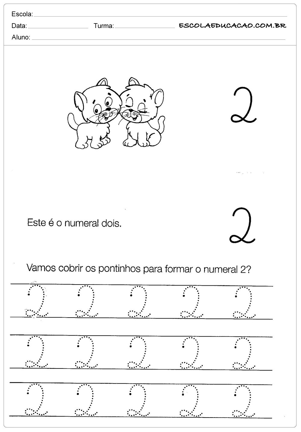 Atividades com Numerais – Numeral Dois