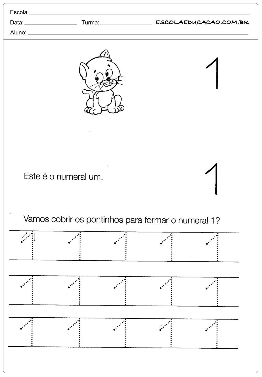 Atividades com Numerais – Numeral Um
